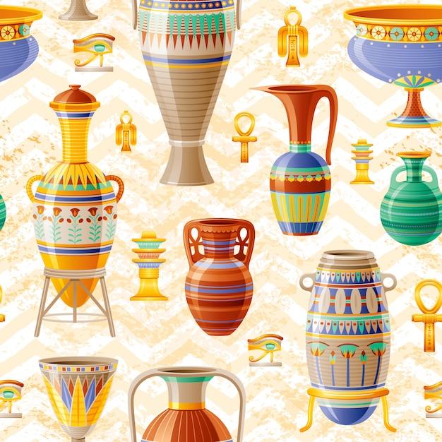 花瓶パターン。古い粘土ポット、オイルの水差し、つぼ、アンフォラ、ガラス、瓶、花瓶と陶器のシームレスな背景。古代エジプトのパターン。アンティークセラミックアート。ジグザグの漫画の民族のヴィンテージ装飾 Premiumベクター