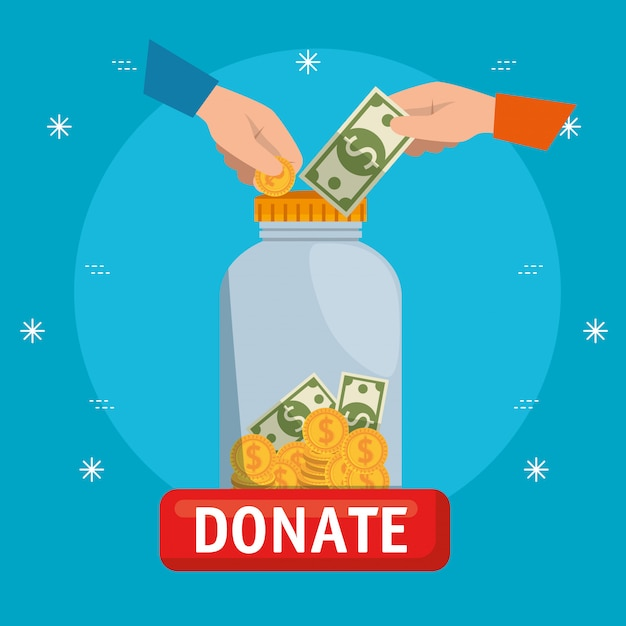 Vase with money for charity donation Free Vector