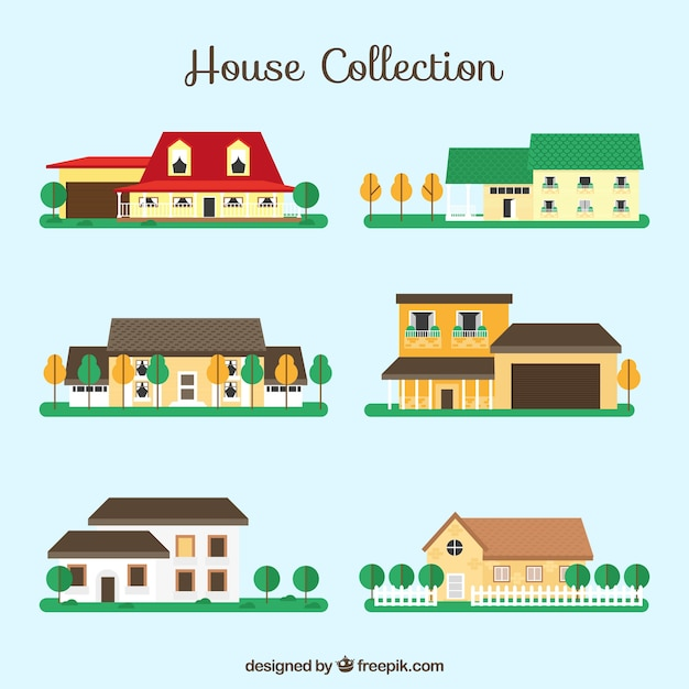 Vatiety of houses with flat design Free Vector