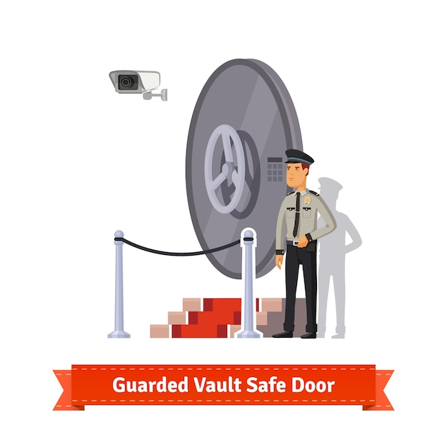 Vault safe door guarded by an officer in uniform Free Vector