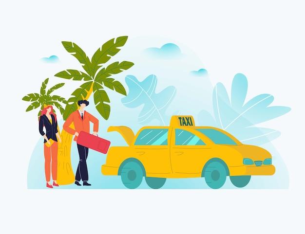 Vcationカップル休憩、ツアーホット旅行、パームシーシーズン、熱帯の島の観光、イラスト。風刺画、トロピカルアイル、旅行の概念を出発する風刺画の幸せな人々。 Premiumベクター