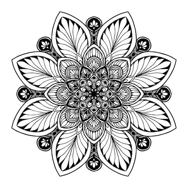本を彩るためのマンダラ。東洋のベクトル、抗ストレス療法パターン。ヨガロゴvec Premiumベクター