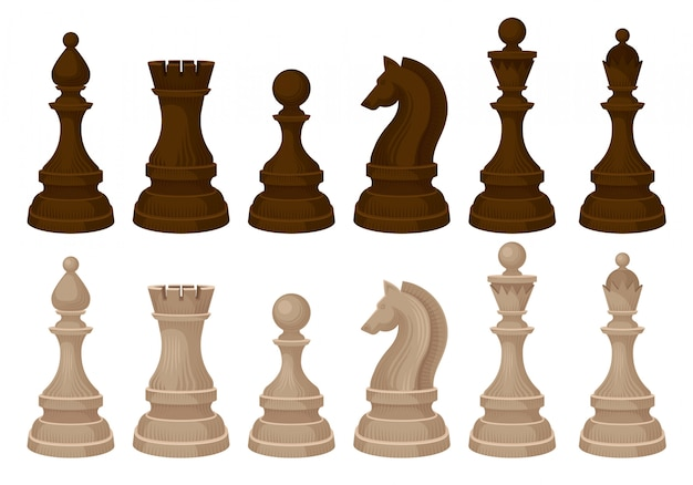 チェスの駒のフラットvecrorセット。ブラウンとベージュの木の人物像。戦略ボードゲーム Premiumベクター
