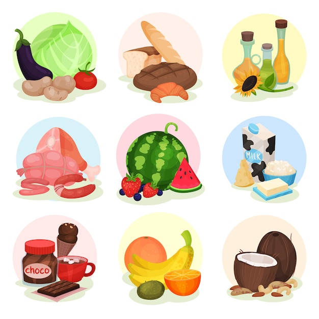 Vecrtor set of compositions with different products. fresh vegetables and fruits, bottles with oils, bakery, sweets, meat and dairy Premium Vector