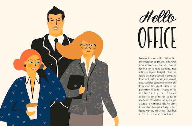 Vectior illustration of office people, businessmen, managers. Premium Vector