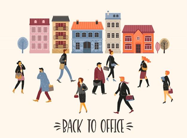 Vectior illustration of people going to work. Premium Vector
