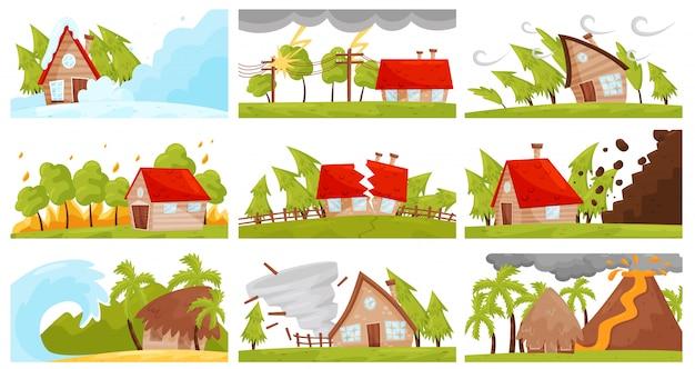 自然災害のvectoeセット。山火事、火山噴火、雪崩、強い竜巻、破壊的な地震 Premiumベクター