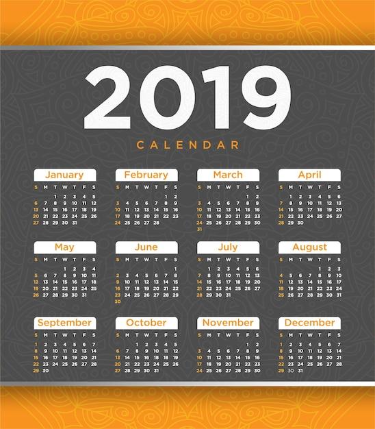 Vector of 2018 new year calendar template design Premium Vector