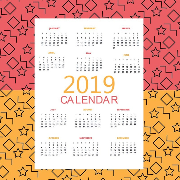 Календарь vector 2019 Premium векторы