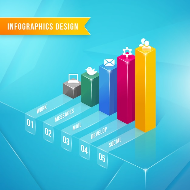 Vector 3d bar chart infographics element with icons and text Free Vector