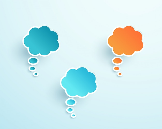 Vector 3d colorful thought bubble shapes Premium Vector