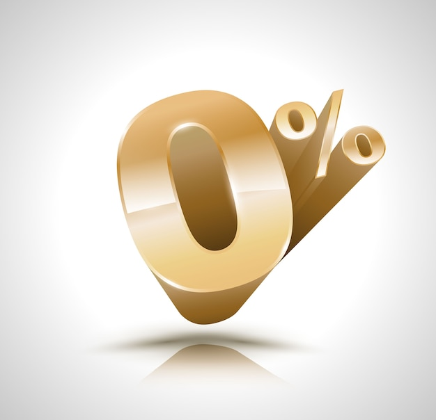 Vector 3d golden number zero percent Premium Vector