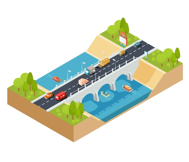 Vector 3D isometric cross section of a\ landscape with a flowing river and automobile bridge through\ it.