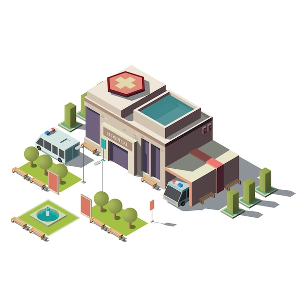 Vector 3d isometric hospital, ambulance with parking Free Vector