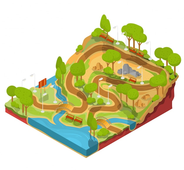 Vector 3D isometric illustration of cross\ section of a landscape park with a river, bridges, benches and\ lanterns.