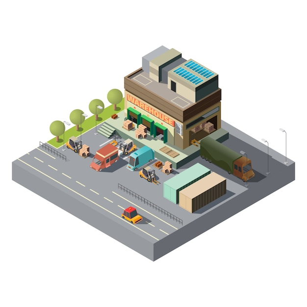 Vector 3d isometric warehouse, trucks for shipping Free Vector