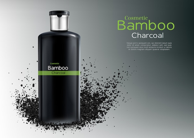 Vector 3d realistic ad poster with charcoal cosmetics Free Vector