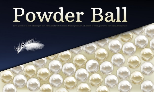 Vector 3d realistic background with powder balls Free Vector