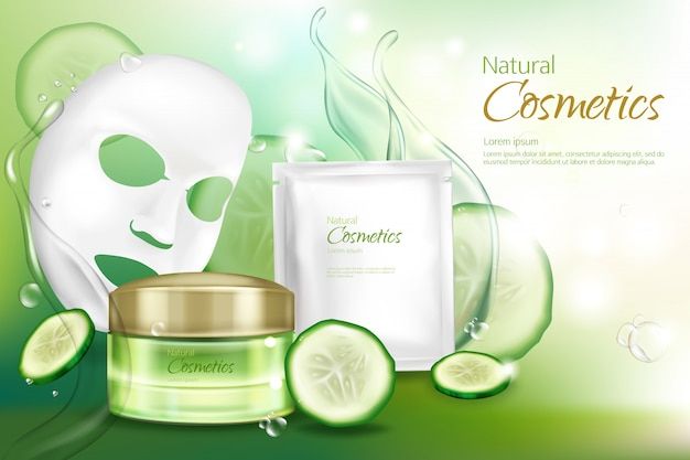 Vector 3d realistic banner with white sheet facial cosmetic mask Free Vector