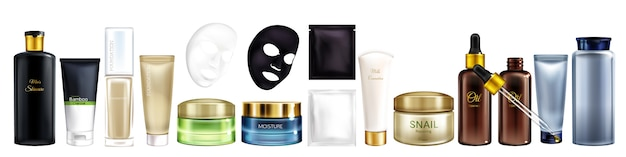 Vector 3d realistic big collection of cosmetic products - shampoo, moisturizing mask, foundation and Free Vector