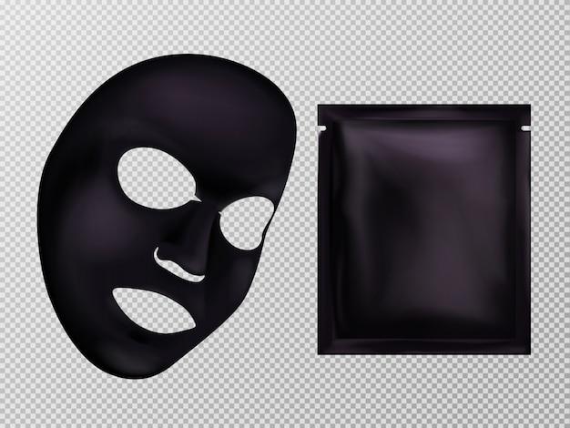 Vector 3d realistic black sheet facial cosmetic mask and sachet. Free Vector