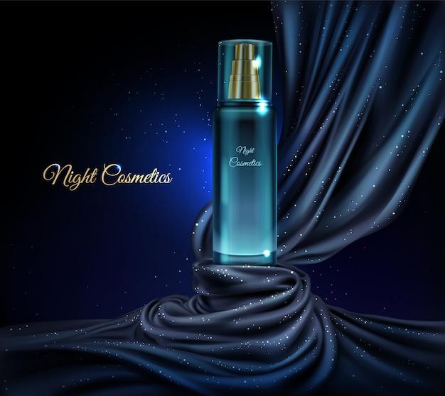 夜化粧品のガラス瓶と3 dのリアルな化粧品の背景をベクトルします。 無料ベクター