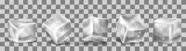 Vector 3d realistic ice cubes Free Vector