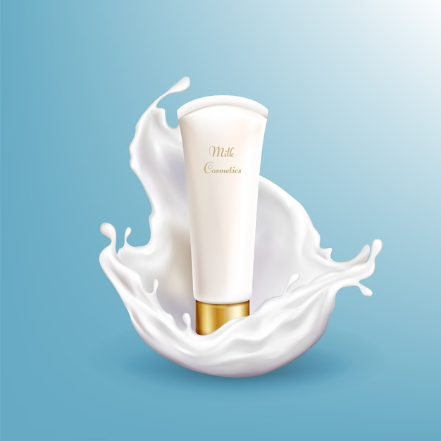 Vector 3d realistic milk cosmetic in white splashing isolated on blue background. Free Vector