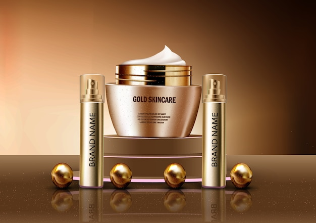 Vector 3d realistic mock up of perfume and gold skincare lotion cosmetics Free Vector