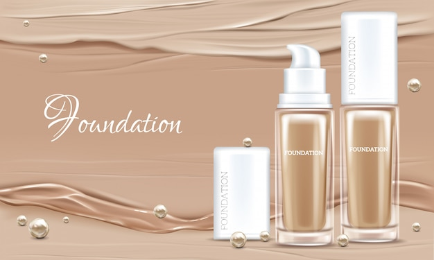 Vector 3d realistic poster with concealer, beige cosmetics product in glass package. Free Vector