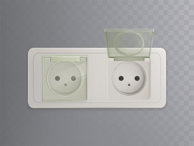 Vector 3d realistic power socket with plastic caps, covers for protection, child-proofed system Free Vector
