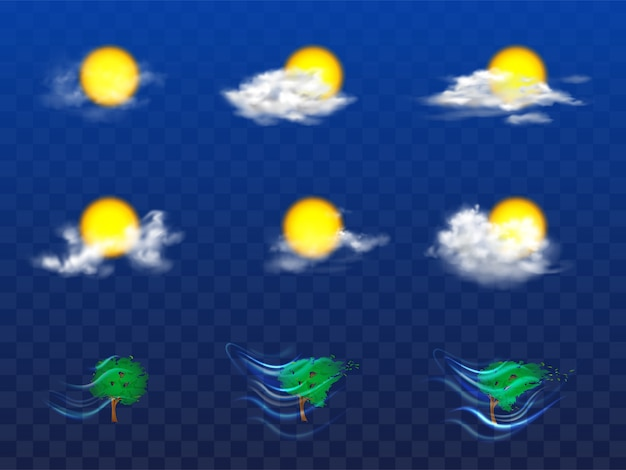 Vector 3d realistic set with weather forecast elements Free Vector