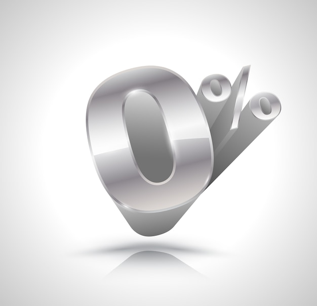 Vector 3d silver number zero percent Premium Vector