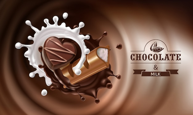 Vector 3d splashes of melted chocolate and milk with falling piece of chocolate bar and candy Free Vector