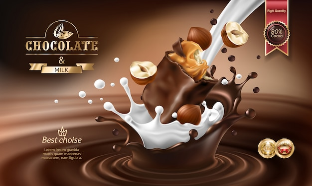 Vector 3D splashes of melted chocolate and milk with falling piece of chocolate bar. Free Vector