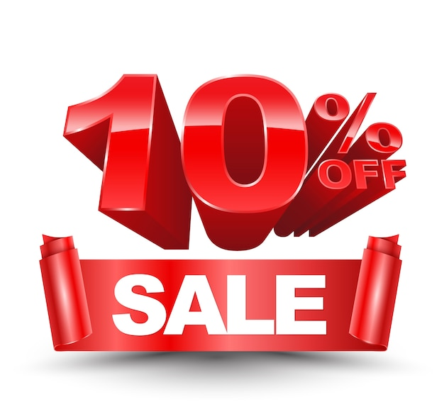 Вектор 3d десять процентов от красного с продажей красной лентой Premium векторы