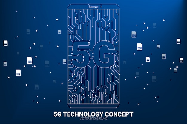Vector 5g dot connect line circuit board style mobile phone icon. concept for data transfer of mobile data network. Premium Vector