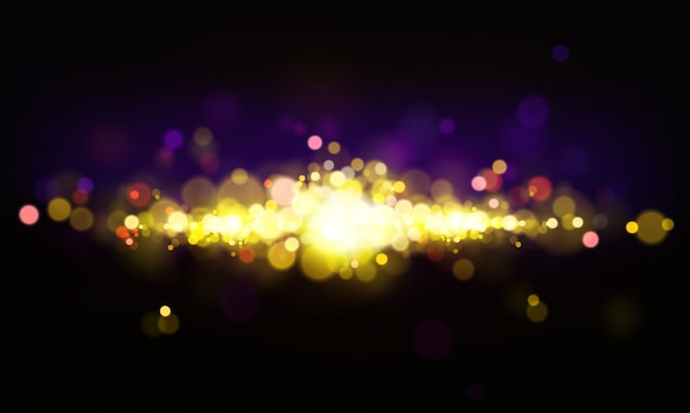 Vector abstract background with shining elements, bright lights, bokeh effect. Free Vector