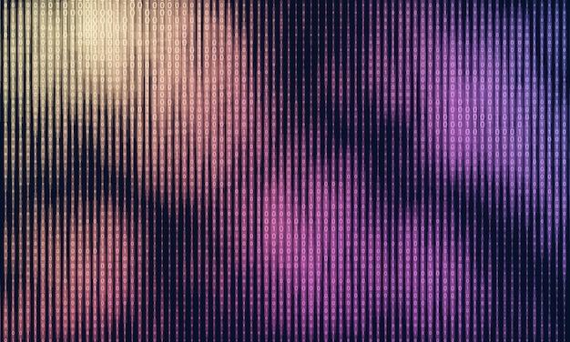 Векторная визуализация абстрактных больших данных. цветной поток данных в виде строк двоичных чисел. представление компьютерного кода. криптографический анализ, взлом. биткойн, передача блокчейна. шаблон программного кода Бесплатные векторы