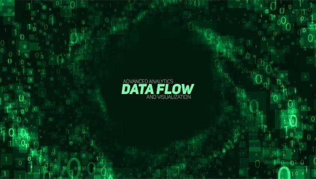 Векторная визуализация абстрактных больших данных. зеленый светящийся поток данных в виде двоичных чисел. представление компьютерного кода. криптографический анализ, взлом. биткойн, передача блокчейна. Бесплатные векторы