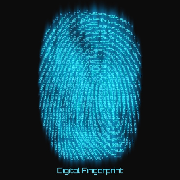 Vector abstract binary representation of fingerprint. cyber thumbprint blue pattern composed of numbers with glow. biometric identity verification. futuristic sensor scan image. digital dactylogram. Free Vector