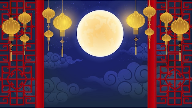 Vector of abstract chinese graphic and background Premium Vector