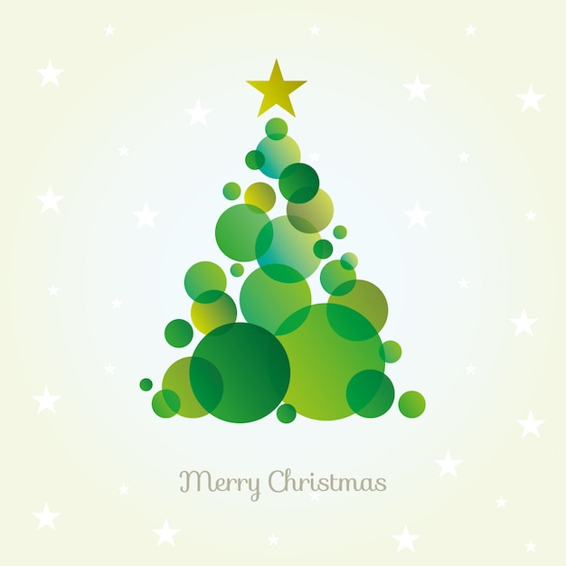 Vector abstract christmas tree card made from green circles. Free Vector