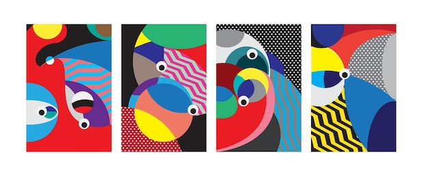 Vector abstract colorful geometric curvy pattern background Premium Vector