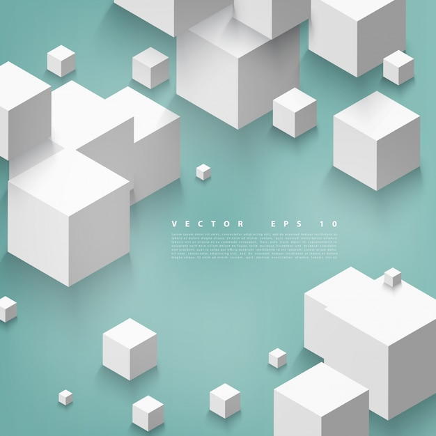 Vector Abstract geometric shape from gray cubes. Free Vector