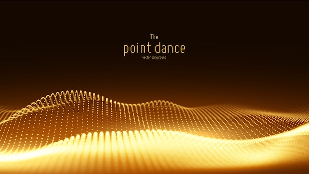 Vector abstract golden particle wave, points array, shallow depth of field. Free Vector