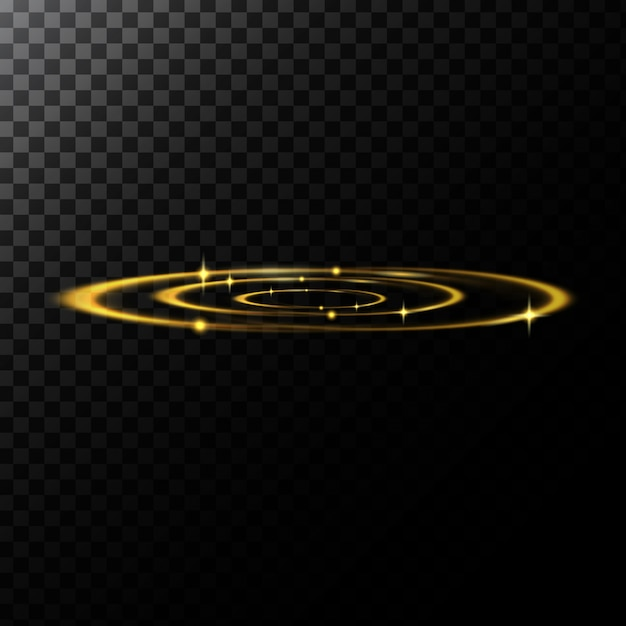 Vector abstract illustration of a light effects in the shape of a golden circles
