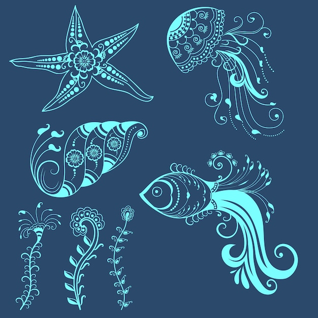Vector abstract marine creatures in indian mehndi style. Abstract henna floral vector illustration. Design element. Free Vector