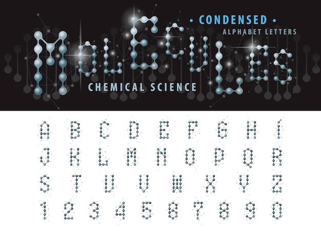 Vector of abstract molecule cell alphabet letters and numbers, condensed fonts Premium Vector