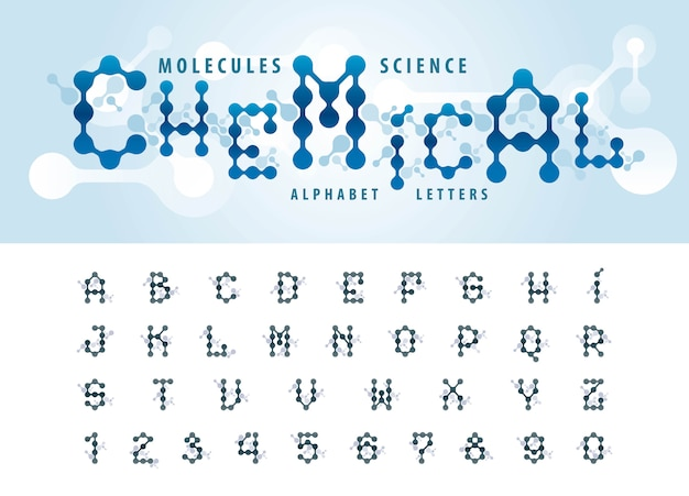 Vector of abstract molecule cell alphabet letters and numbers Premium Vector